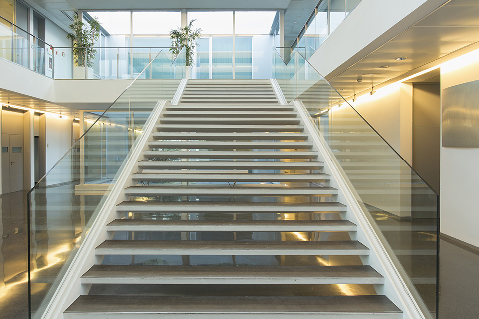 a picture of an office with stairs