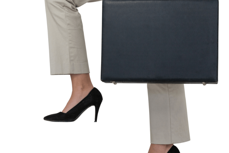 woman carrying briefcase of documents