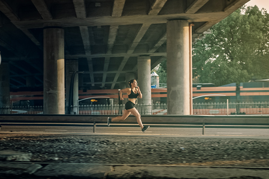 Woman jogging on a track